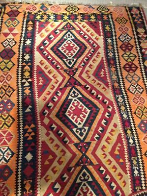 "Vintage Turkish Kilim Area Rug 4'8""x7'2"""