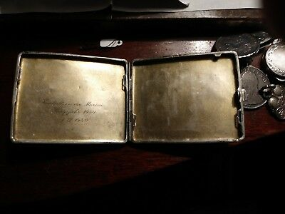 german ww2 silver navy 1940 cigarette case fits modern credit cards, card case