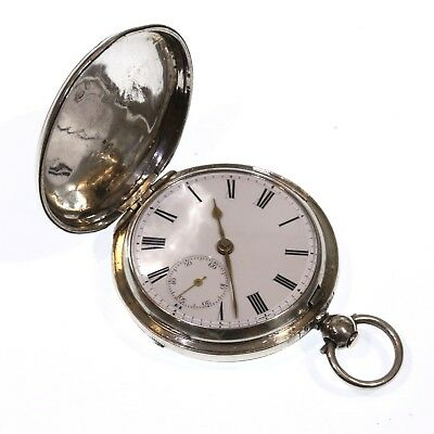 1877 Antique Full Hunter Pocket Watch Silver Fusee Lever. Serviced