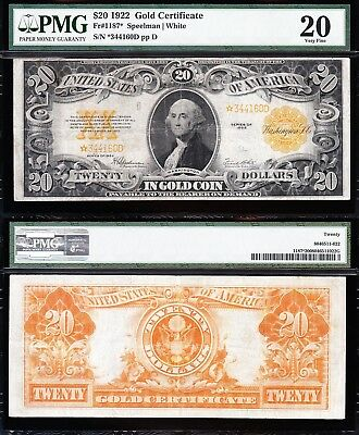 Awesome **RARE STAR NOTE** Mid-Grade VF 1922 $20 *GOLD CERTIFICATE*! PMG 20!