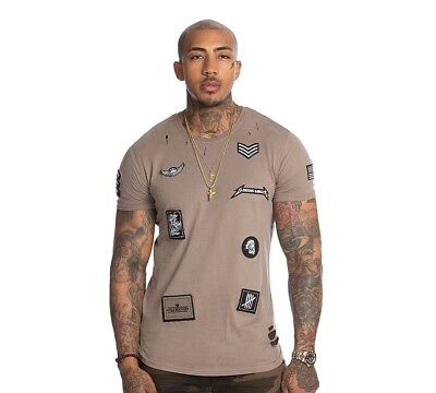 Mens GG By Condemned Nation Elder Applq Badge Stone T-Shirt RRP £34.99