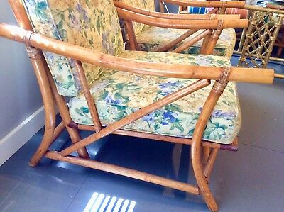 Vintage Bamboo Set Couch and Chairs with Chair Cushions
