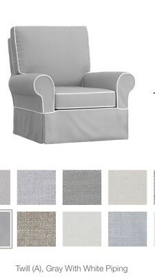 New Pottery Barn Kids Nursery Gray Twill Comfort Swivel Glider Slipcover Ottoman