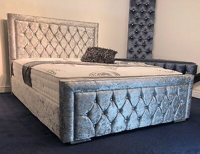 Miami Crushed Velvet Fabric Upholstered Silver Bed Frame 4'6 Double 5FT King
