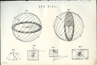 SUN DIAL 1885 Antique Original Print from Steel Engraving Science Astronomy Time