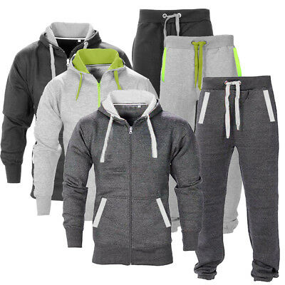 CONTRAST Mens Full Tracksuit Hooded Bottoms Top Fleece