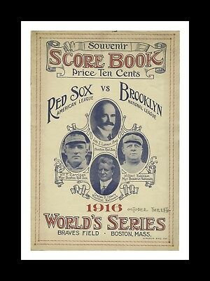 Boston Red Sox Vs Brooklyn Dodgers 1916 World Series Matted Photo Ofgame Program