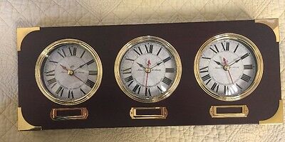 Am Wooden Brass Mantel-Wall 3 Face World Clock By Makers To Admiralty Mermaid