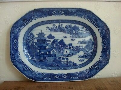 1xchinese  18th century qianglong period blue white large  meat plate<32cm>