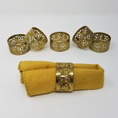 Set of 6 Vintage Napkin Rings Gold Brass Tone Fleur de Lis Open Work