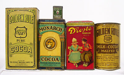 *5*  Old  Cocoa Tins  Golden Rule, Monarch, Droste, + Runkel's Sample