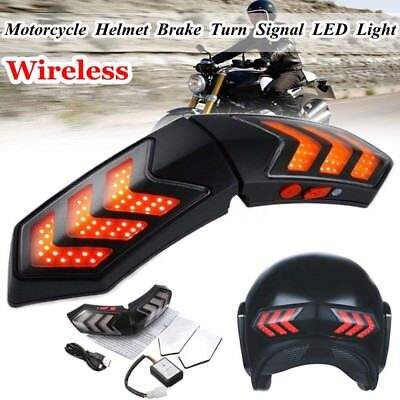 Helmet Wireless LED Brake Stop Signal Light Indicators Security For Motorcycle