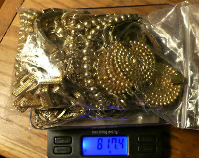 817.4 grams 10K 12K 14K Gold Filled Jewelry Scrap Lot Recovery