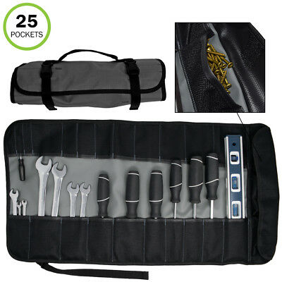 Evelots Tool Roll Bag-3 Screws & Bits Pockets-Wrench Pouch-27 inch-25 Pockets