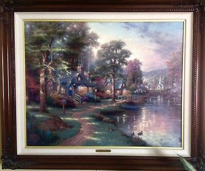 THOMAS KINKADE CANVAS LITHOGRAPH, FRAMED,SIGNED NUMBERED 24x30 Hometown Lake
