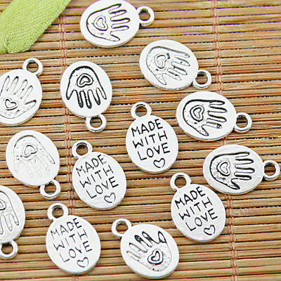 100pcs Tibetan silver made with love hand charm pendants EF1361