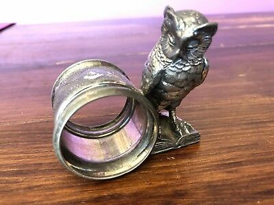 "Antique Meriden Silverplate #282 ""Owl on Book"" Figural Napkin Ring"
