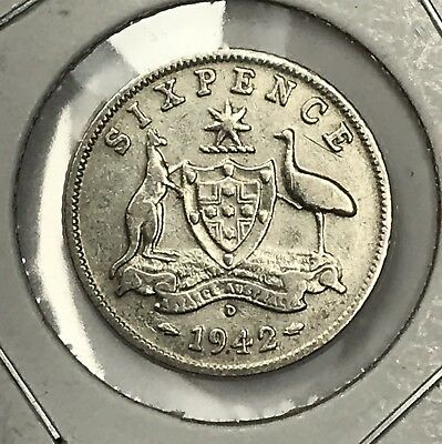 1942-D Australia Silver Sixpence. Super Nice Higher Grade Collector Coin For Set