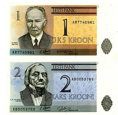 "Estonia … P-69,70 … 1,2 Krooni … 1992 … *UNC*  ""2 Notes"""