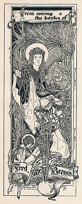 1897 Ex libris Bookplate Charles Robinson for Fred W. Brown Femme Art Nouveau