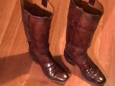 VINTAGE Lucchese Tall Mahogany Leather Square Toe Boots Size 6.5B w/puller