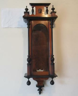 Antique c1900 Carved Wood German Vienna Wall Clock Case - Spares Parts