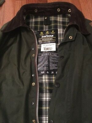 Men's Barbour Classic Beaufort Jacket Waxed with Hood! Size C42/107CM Size Large