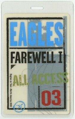 Eagles authentic 2003 concert Laminated Backstage Pass Farewell 1 Tour AA