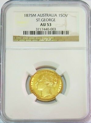 1875 M Gold Australia Dragon Slayer Sovereign Coin Ngc About Uncirculated 53