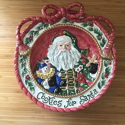 Fitz and Floyd 1995 Cookies for Santa Collectors Plate Father Christmas Bow