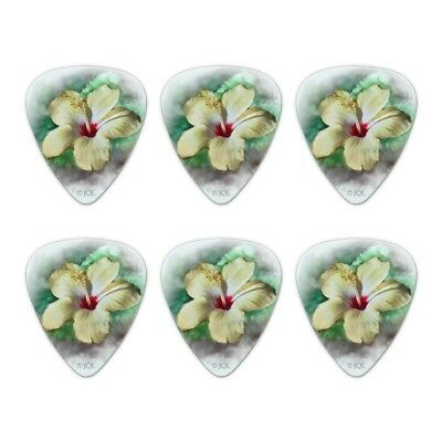Tropical Yellow Hibiscus Hawaii Flower Novelty Guitar Picks Medium - Set of 6