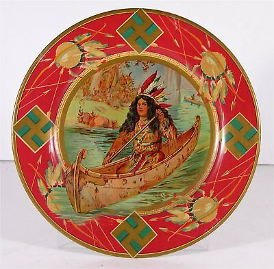 ca1905 NATIVE AMERICAN INDIAN TIN LITHOGRAPH VIENNA ART PLATE / ADVERTISING TRAY