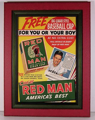 1952 Red Man Tobacco Advertising Sign With Baseball Card Insert Ralph Kiner