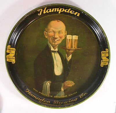 1935 Hampden Brewery Tin Lithograph Advertising Beer Tray - The Ugly Waiter Tray