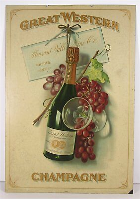 1890s TIN LITHOGRAPH GREAT WESTERN CHAMPAIGN / WINE ADVERTISING SIGN