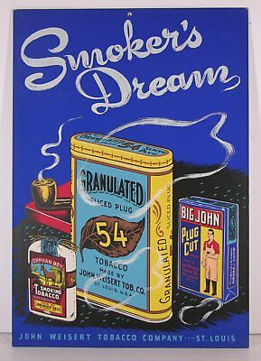 1910s BIG JOHN AND ORPHAN BOY WEISERT TOBACCO CHROMOLITHOGRAPH ADVERTISING SIGN
