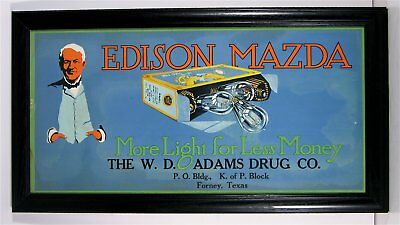 1910s MAZDA EDISON LIGHT BULBS TROLLEY ADVERTISING SIGN WITH THOMAS EDISON