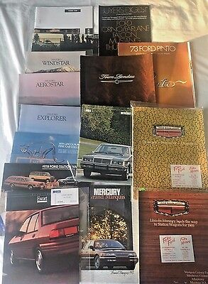 Large Lot of (15) Vintage Ford Lincoln Mercury Sales Brochures 1969 through 1995