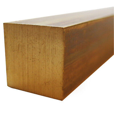 """2.5"""" Extruded C360 H02 (Half Hard) Brass Square Bar : One Ft. (12"""") Length"""