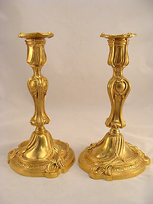Unique pair Antique French Ormolu Gilt Bronze Louis XV Candlesticks 18th.C.