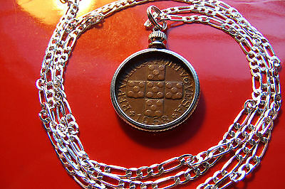 "Portugal Classic Copper Cross XX Coin Pendant on a 22"" 925 Sterling Silver Chain"