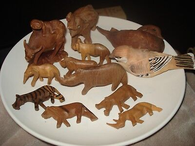 Lot 12 Hand Carved Wooden animals elephants rhino lion hippo Other