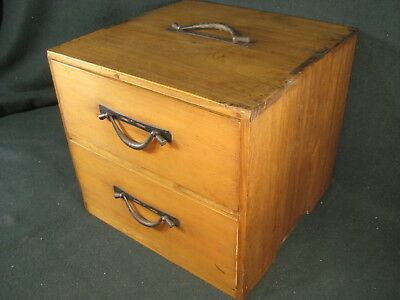 ANTIQUE JAPANESE 120 YR OLD MEIJI ERA (c. 1890) 2 DRAWER SPECIALTY TANSU CHEST
