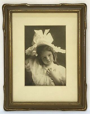 Antique Early 20th C Gold Art Nouveau Frame Original Girl Photo 6 x 8 Opening