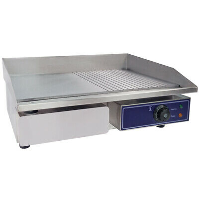 Electric Griddle Flat & Groove Grill BBQ Teppanyaki Commercial Hot plate