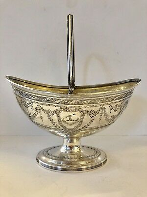 Exquisite George III Sterling Silver Sugar Basket Henry Chawner 1797