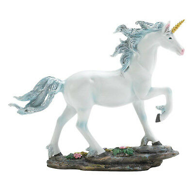 UNICORNS: Glorious White Unicorn With Blue Mane Gold Horn Statue Figurine NEW