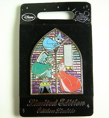 Disney Store UK Pin Three Fairies Stained Glass LE 800 OC Sleeping Beauty ec1c3be2395