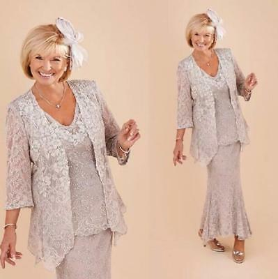 SILVER LACE MOTHER of the Bride Dress with Jacket Plus Size ...