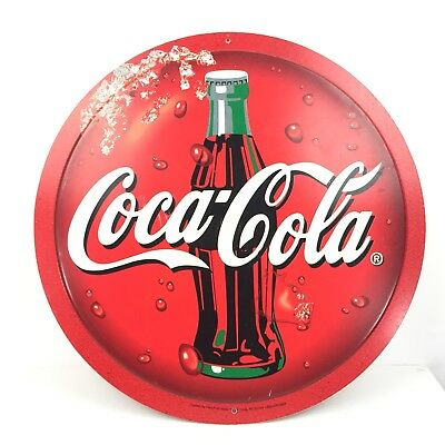 """Coca-Cola Store Sign Bottle Round Double Sided Plastic Spinning 22-3/8"""" Diameter"""